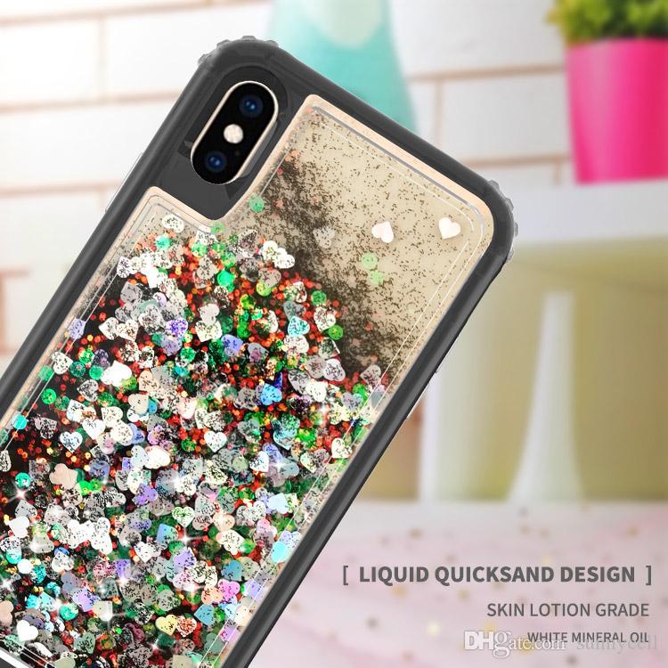 чехол для Iphone 11 для Iphone 11 Pro Max XS MAX XR 8 7 6Plus Liquid Quicksand дизайн вода Блеск Bling плавающего Красочный Тройного Combo Case