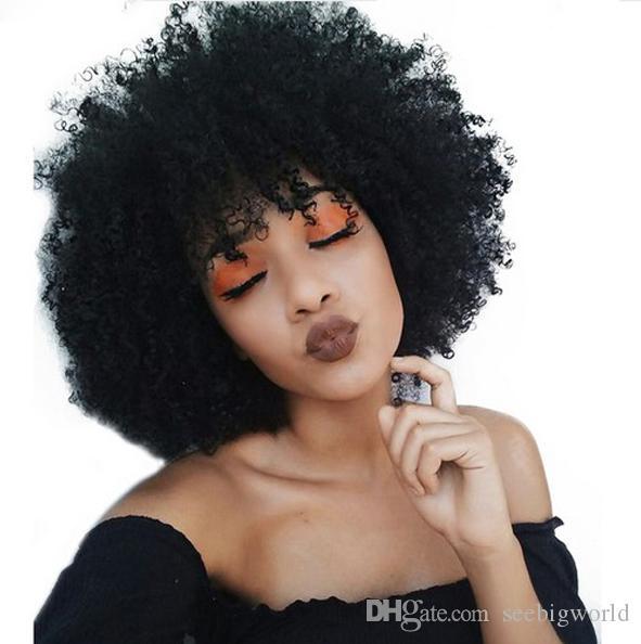 heiße Frauen neue Frisur kurz geschnitten verworrene lockige natürliche Perücke African Americ lndian Haar Simulation Menschenhaar lockigen schwarze Perücke mit Knall