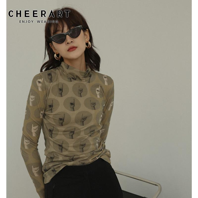 CHEERART Vintage Футболка черепаха шеи длинным рукавом Эстетическая Tight Tee Shirt Femme белье Женщины Осень Одежда T200108