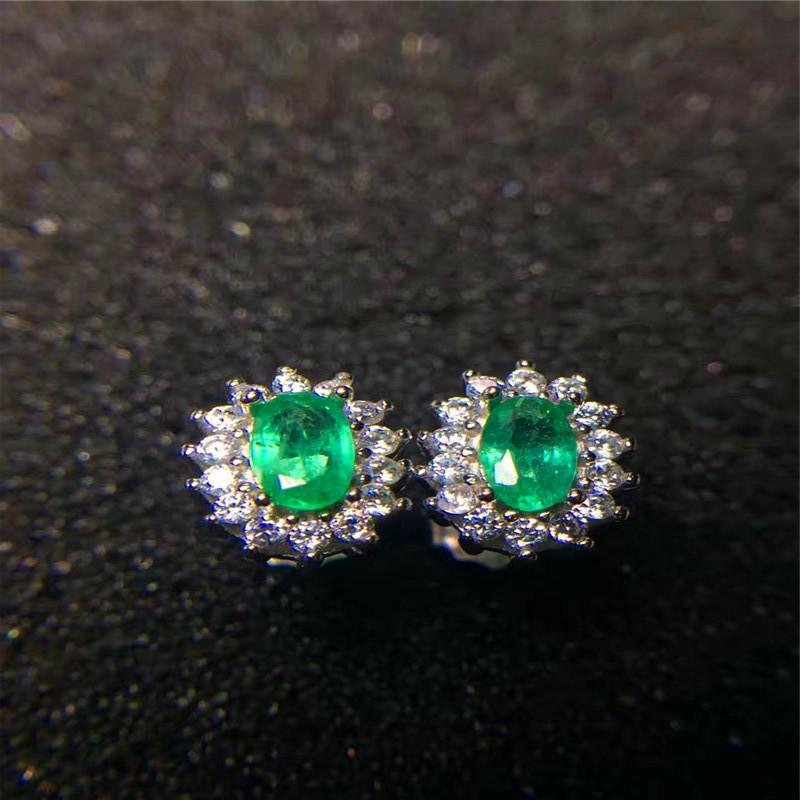 Design 3 925 Sterling Silver Emerald Crystal Circle Stud Earrings