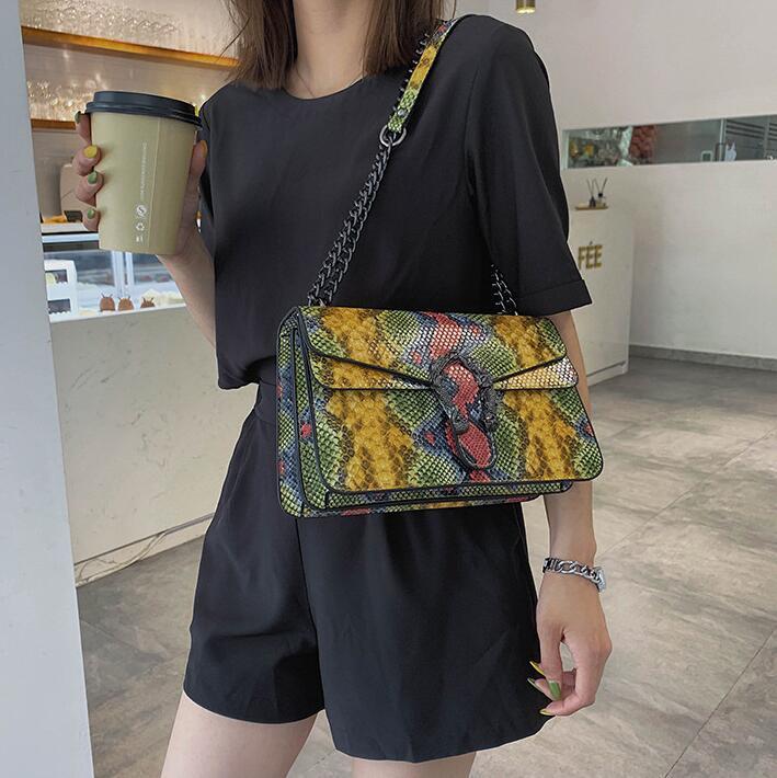 women handbag foreign style printing color chain bag street trend serpentine shoulder bag retro buckle serpentine leather messenge bag