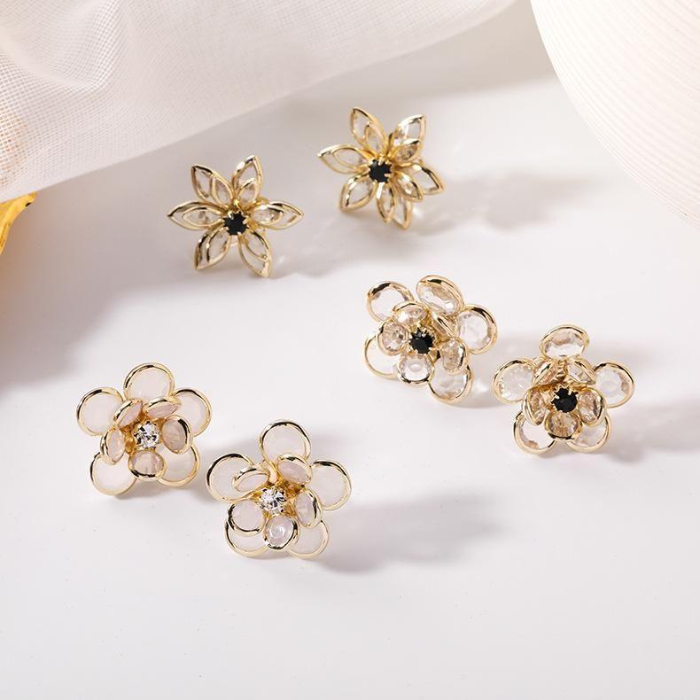 Новые приходят моды ювелирные многослойная прозрачный кристалл цветок серьги для женщины ромашку двухслойного горный хрусталь серьги тонкой