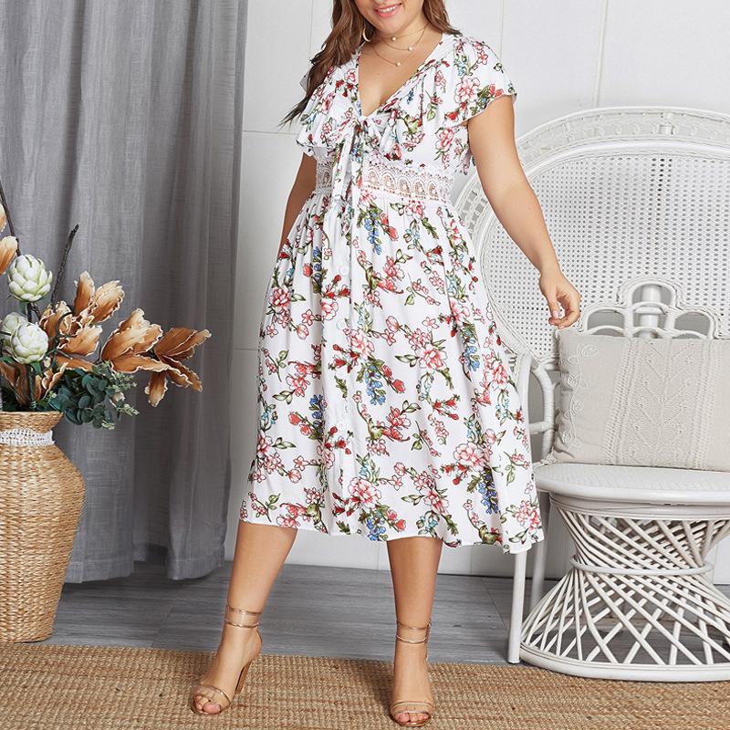 Fashion Woman Stampa abito da 2.020 a maniche corte Primavera Estate Office Lady Boho maxi abiti con scollo a V oversize Vestido