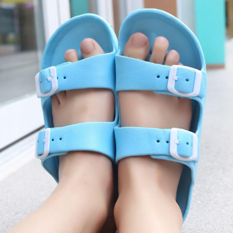 Açık Kaymaz Sandalet Yaz Plaj Casual Kadınlar Düz Sandalet Artı boyutu Toka Bayanlar Yumuşak Sole Wear