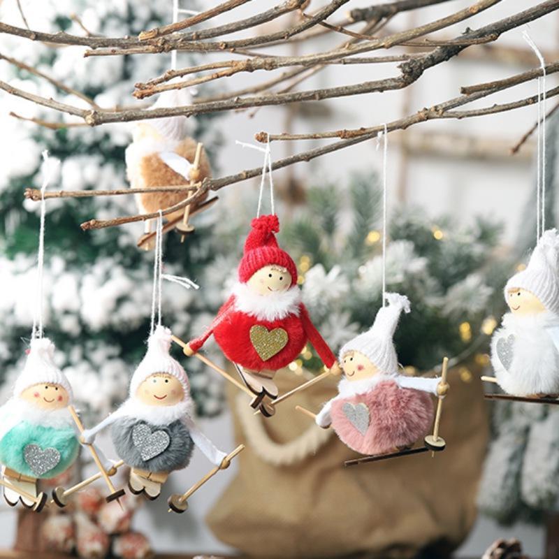 Ноэль Рождество Ангел Горнолыжная Плюшевые куклы Рождественская елка Подвеска партия Новогоднее украшение для дома
