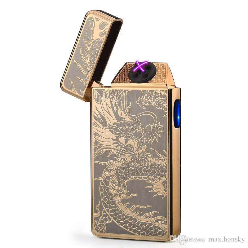new fashion utility top-end Plasma pulse arcs Lighter dual arc Electronic USB Rechargeable cigarette Lighter windproof dragon pattern A60080