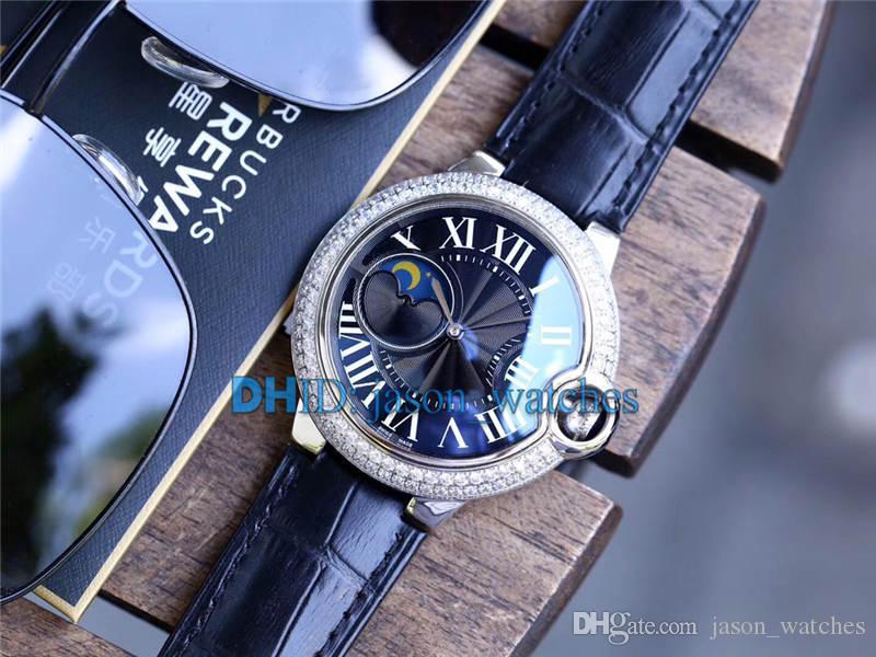 Blue Ball Diamond Watch 42mm Hommes Montres Mécanique Automatique Mouvement Lunette Saphir Bracelet En Cuir Noir Cadran Montre de luxe