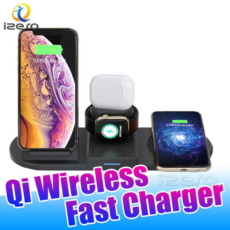 For iWatch Airpods Universal 9V 2V Qi Wireless Charger 3.0 Fast Charger Dock Stand for iPhone Samsung Huawei with Retail Packaging izeso