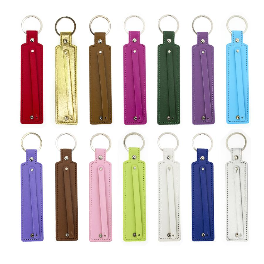 grossistpriser 10st PU Läder Nyckelring med 8mm Litet bälte kan genom 8mm Slide Charm / Brev Gratis Frakt