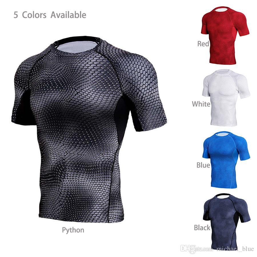 Short 3D Pattern Fintness T Shirts Men Soft Compression Joggers Gym Wear Good Looking Sports Clothes