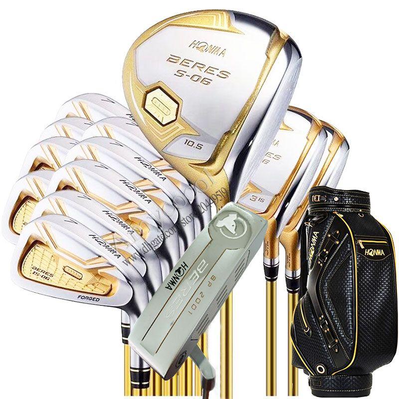 clubes de golf nueva HONMA S-06 de 4 estrellas Golf juego completo de palos de madera de calle conductor putter Bolsa de grafito eje del golf cubierta para la cabeza del envío