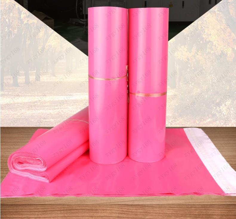 Sıcak satış Pembe Plastik Poly Kendinden mühür Kendinden yapışkanlı Ekspres Kargo Çanta Kurye Mesaj Posta Mailer Çanta 1000pcs Ücretsiz nakliye