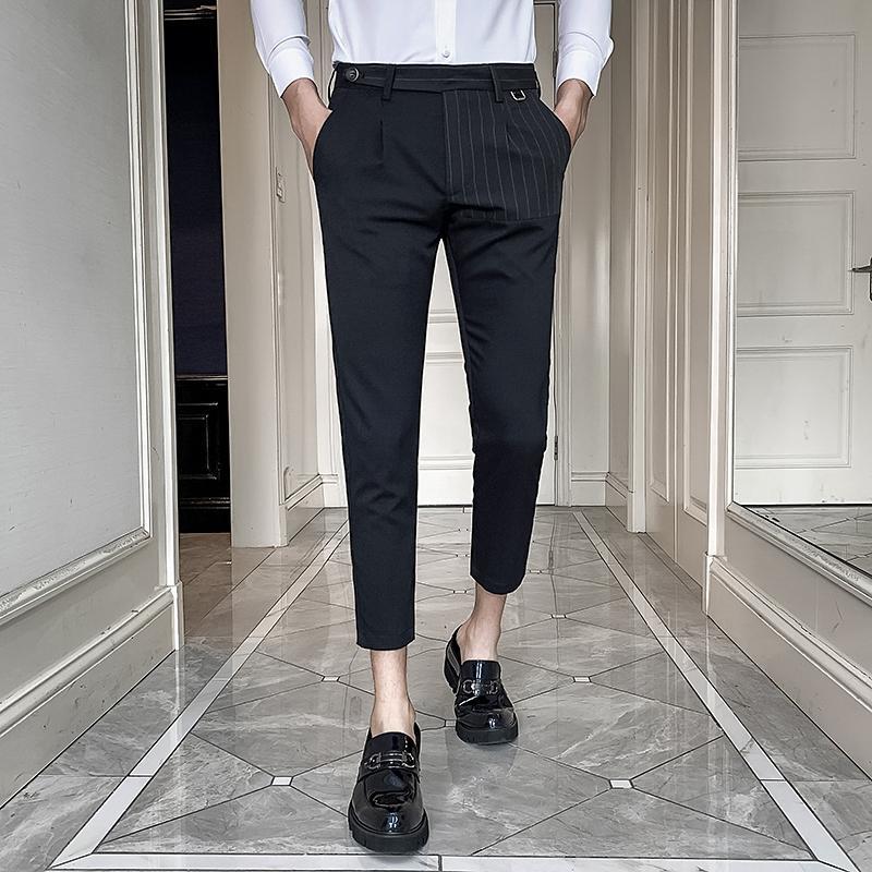 Frühling 2020 Kleid Hose Männer Knöchel-Längen-Slim Fit Spliced Gestreifte Tasche Formal Hosen für Männer Street Büro Hosen