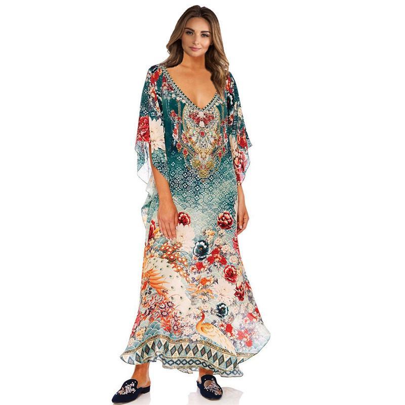Traje de baño de las mujeres cubre para arriba el vestido de la túnica Long Beach Encubrimientos gasa de la impresión del traje Camisa de Sun Prueba falda básica Dn0159 poliéster Sierra