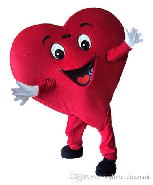 2019 Lojas de Fábrica hot Red Love Heart Mascot Costume fancy Party Dress Adult Size Free Ship.