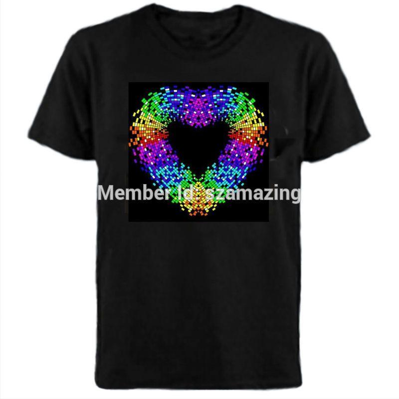-Ton aktivierte LED-T-Shirt Licht nach oben und unten Flashing EL-Entzerrer-Musik-aktivierte T-Shirt Unisex-Herzentwurf CX200613