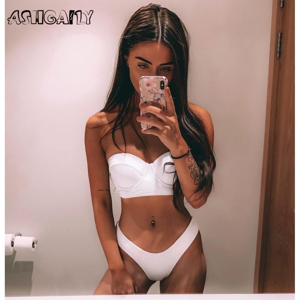 Hohe Taille Bademode Frauen Badeanzug 2020 Bikini Bandage Bikinis Set Gepolsterte Badeanzug Neue Blatt Druck Biquini Maillot de bain