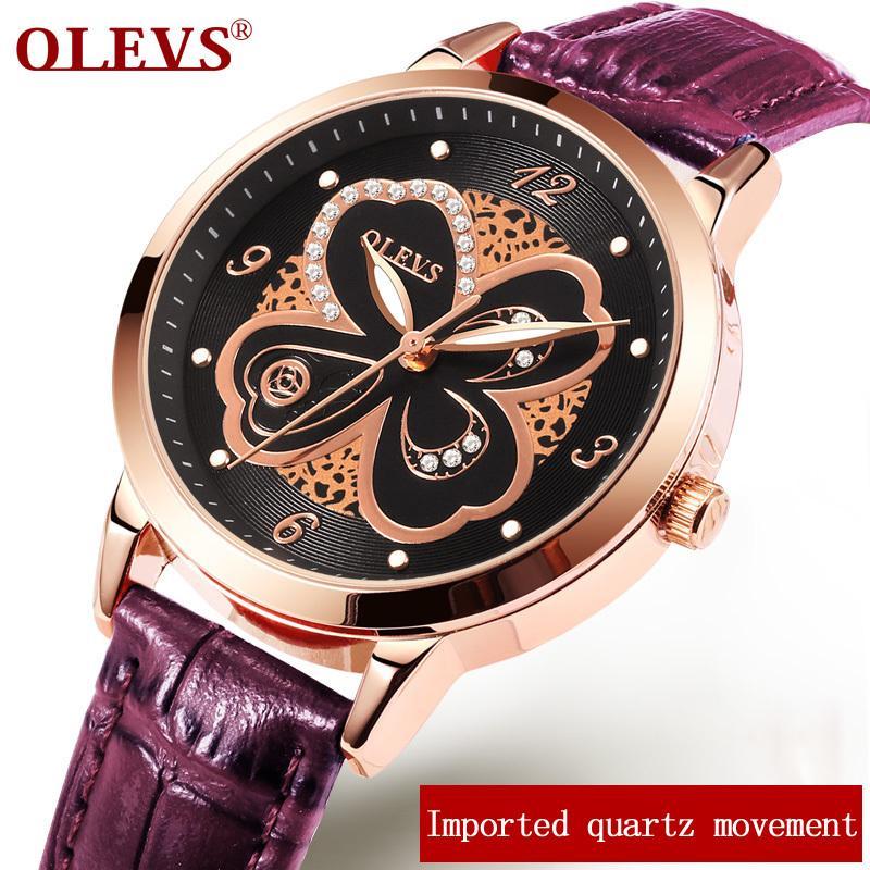 OLEVS mani luminose Clock donne orologio da polso di lusso superiore Pelle Oro signore Orologi da polso Strap Fiore donna regalo di 5188