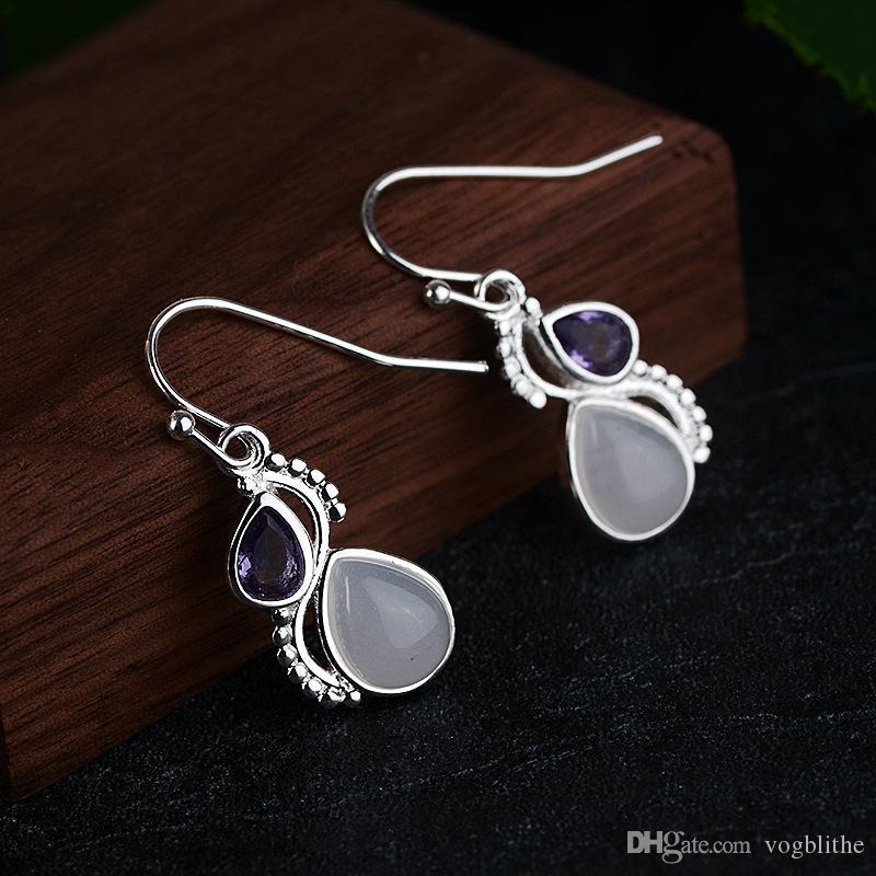 Retro Intarsien purpurrotes Zircon baumeln Ohrringe für Frauen-elegante Wasser-Tropfen-Form künstlichen Mondstein-Tropfen-Ohrring-Schmuck Brincos