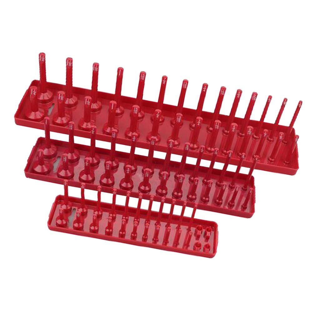 3pcs lecteur Socket Organizer Plateau de qualité Premium outil Organisateur en plastique rail rack Ablage Peg