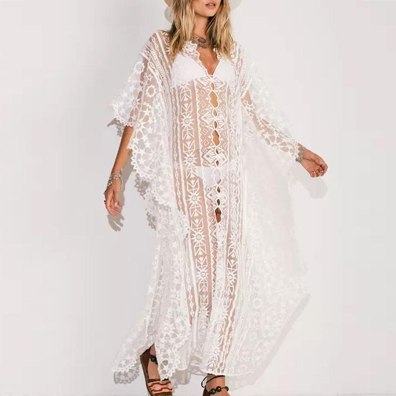 Mossha 2020 nuevo traje de baño femenino del cordón de la gasa de caftán geométricas playa de la impresión del vestido del hilo de araña cubre sube Transaprent usar kimono playa