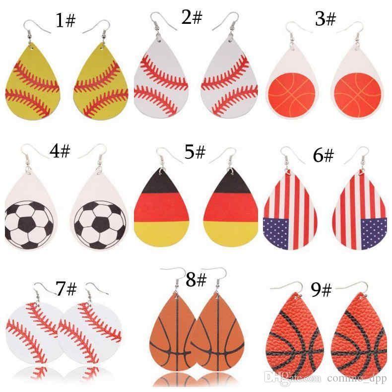 Kadınların Takı için Deri Spor Dangle Küpe Beyzbol Amerikan Almanya Milli Bayrak Futbol futbol basketbol voleybol Damla Küpe