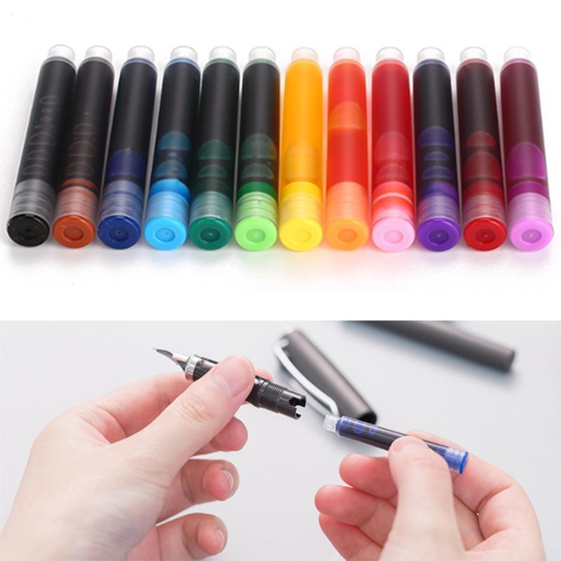 12pcs / ensemble coloré cartouches d'encre stylo plume stylo à plume recharge cartouches recharges dessin école bureau fournitures de papeterie