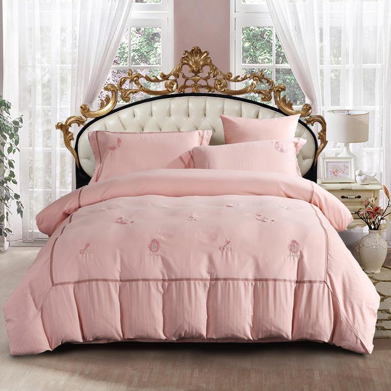 자카드 직물 침구 세트 자수 침대 세트 퀸 킹 사이즈 침대 시트 라이트 핑크 경옥 이불 커버 베개 린넨