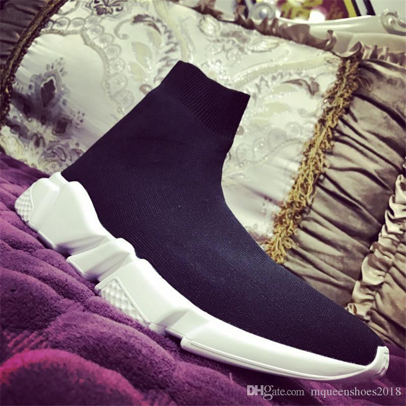 Cheap Mens calzino Speed Trainer scarpe da ginnastica di lavoro a maglia Slip-on Race di alta qualità scarpe casual Comfort All Black Chaussures