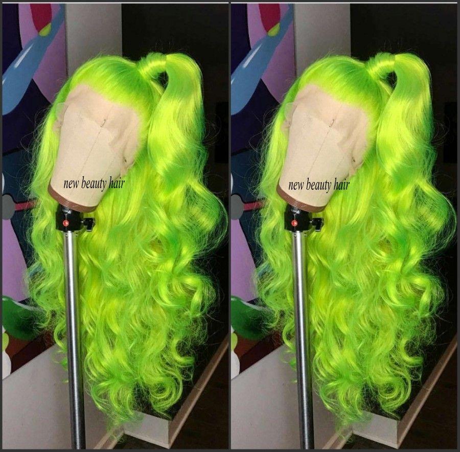고품질 형광 녹색 코스프레 가발 빨간색 / 금발 / 파랑 / 부르고뉴 브라질 전체 레이스 가발 내열성 합성 머리 가발 여성을위한