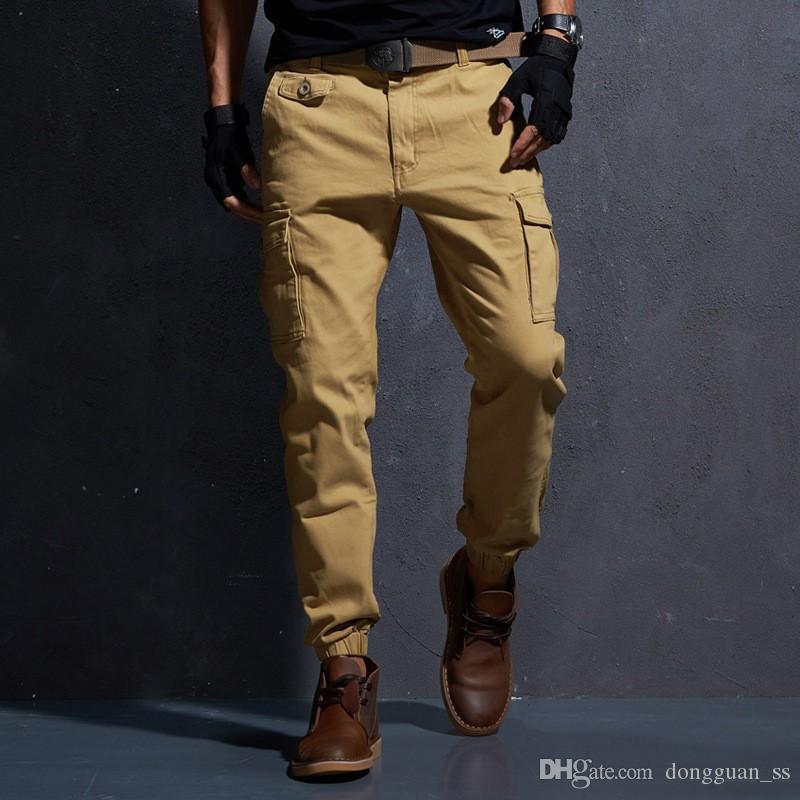 Compre Alta Calidad De Color Caqui Pantalones Casuales Hombres Tactico Militar Joggers Camuflaje Pantalones De Carga Multi Bolsillo Modas Pantalones Ejercito Negro A 30 18 Del Dongguan Ss Dhgate Com