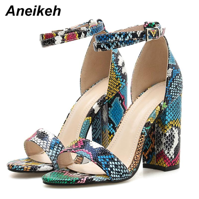 Aneikeh 2019 Fashion PU Summer Ladies Women Serpentine Buckle Strap Open Round Toe Square High Heel Sandals Colorful 40 Y200405