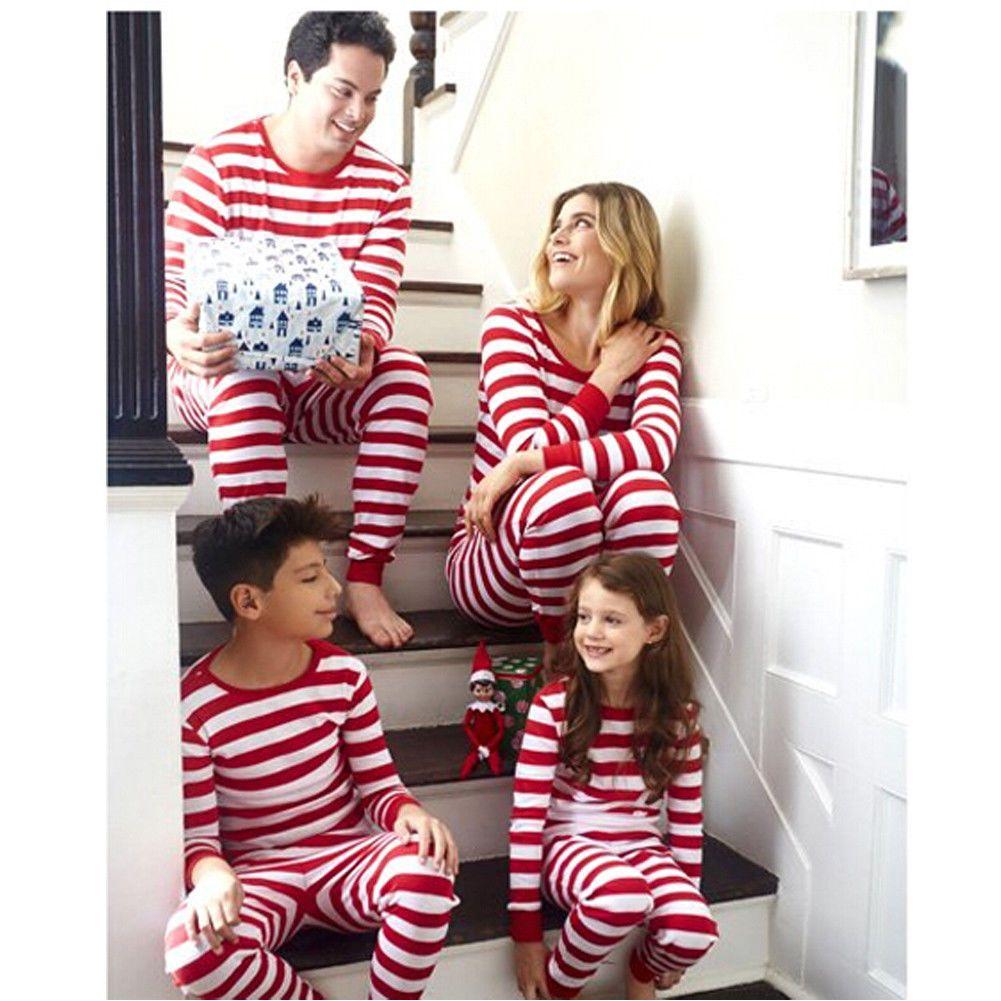 Corrispondenza Natale in famiglia pigiama pigiama a righe Imposta Xmas Sleepwear Pigiami UK