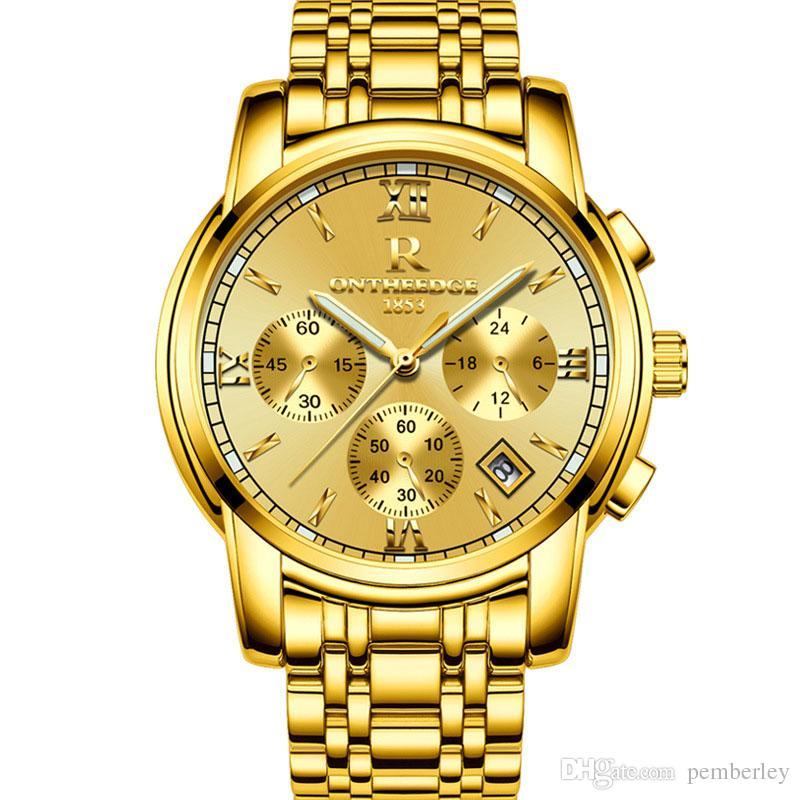 RZY026 41mm automatische Datum Kalender Luxusuhr Mode Gold und Silber Armband der Stahlband Bewegung Quarz Master Clock Mann