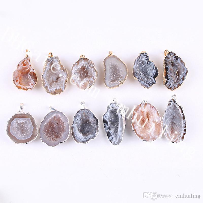 10Pcs 25-40mm Mixed Random Natural Color Druzy Cave Pendant Charm Irregular Genuine Raw Drusy Geode Stone Pendant Gold/Silver Plated Edge