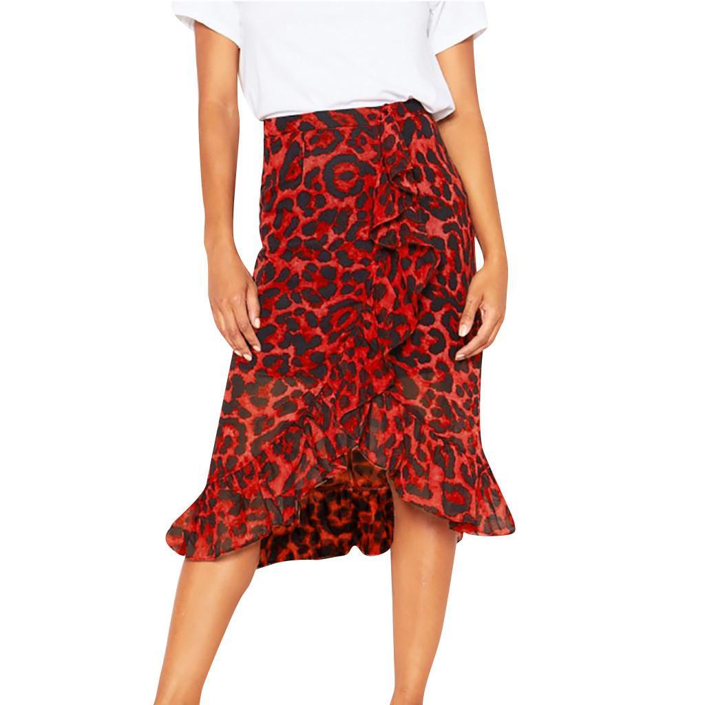 Faldas Verano Coreano Mujeres 2021 Gótico leopardo Impresión largo para las mujeres Sexy Falda de cintura alta Faldas Moda Moda