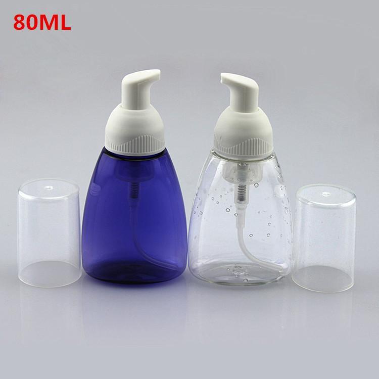 Großhandel, hochwertiger 50X80ml klar / blau Flaschen Blase Schaum Superior-Mousse Flasche Schaumpumpe Flasche gepeitscht