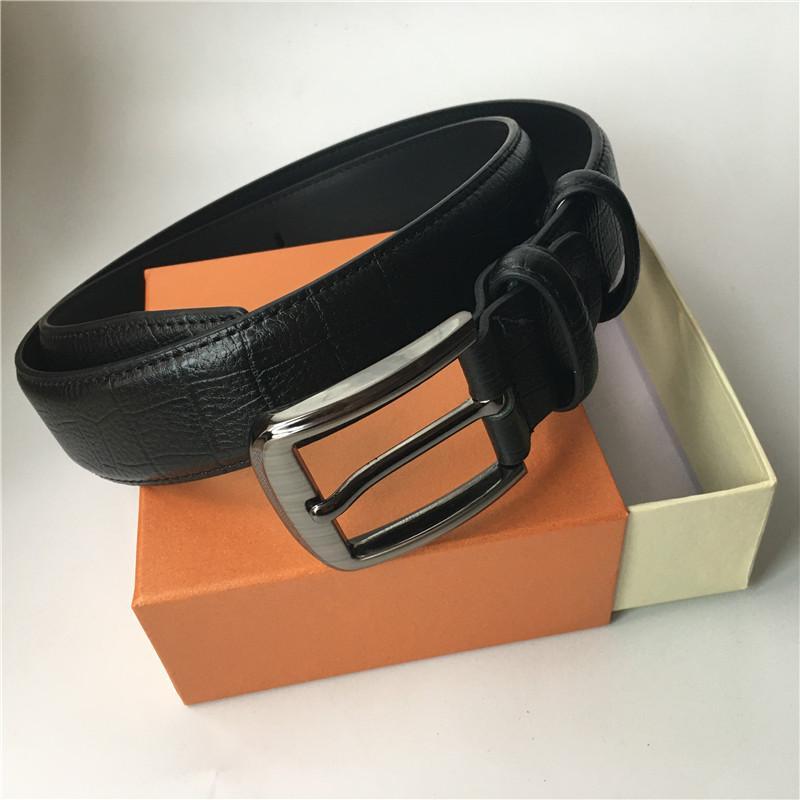 Diseño Correa mujeres de los hombres de la correa del cuero genuino Cinturones lujo de la marca de cintura Negro Plata Oro