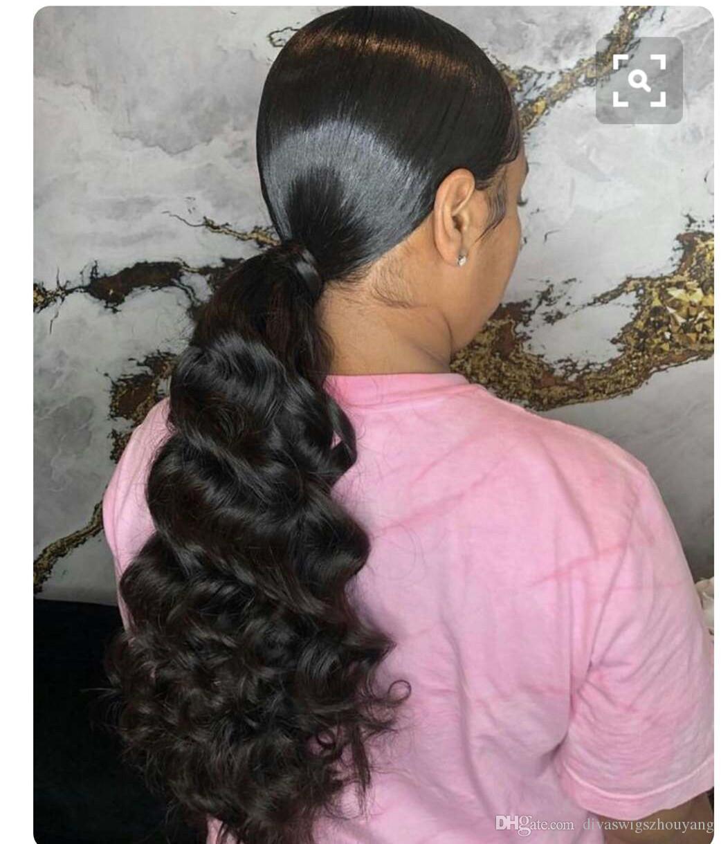 100% remy real cabello humano cola de caballo # 1B color natural indio virgen sin procesar Clip en cola de caballo cuerpo onda extensiones 140 g