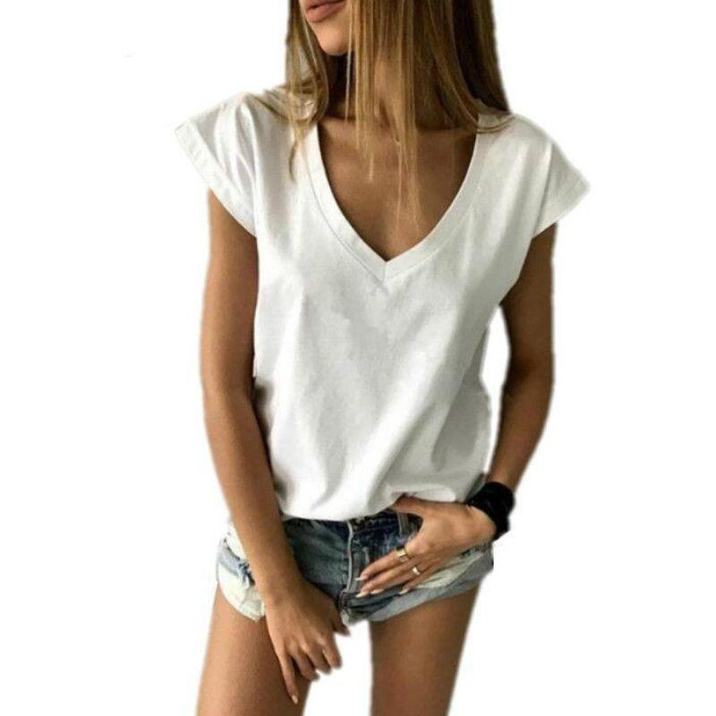 Женская футболка 2021 летняя футболка для женщин с коротким рукавом V-образным вырезом Свободные повседневные сексуальные Camisetas Feminina Lady Tops