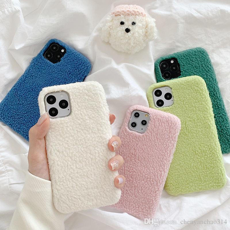Inverno Quente Telefone Furry iPhone Para o Caso 11 11 Pro Max XR X XS Max 7 8 Plus Doce cabelo Soft Color TPU proteção tampa traseira Coque