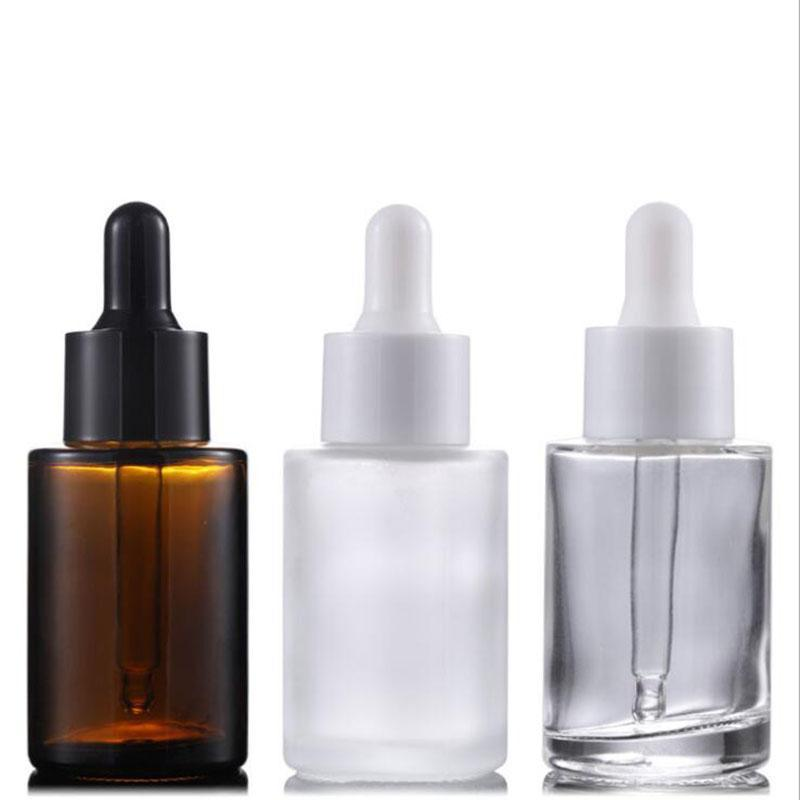 Wholesale 30ml Flat Shoulder Frosted Clear Amber Glass Round Essential Oil Serum Bottle With Glass Dropper for cosmetics essence