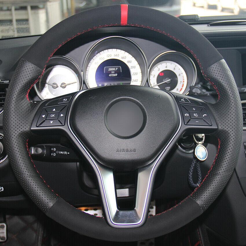Custom Made DIY Anti Slip Black Leather Suede cobertura de volante para Benz A B Classe 2013-2015