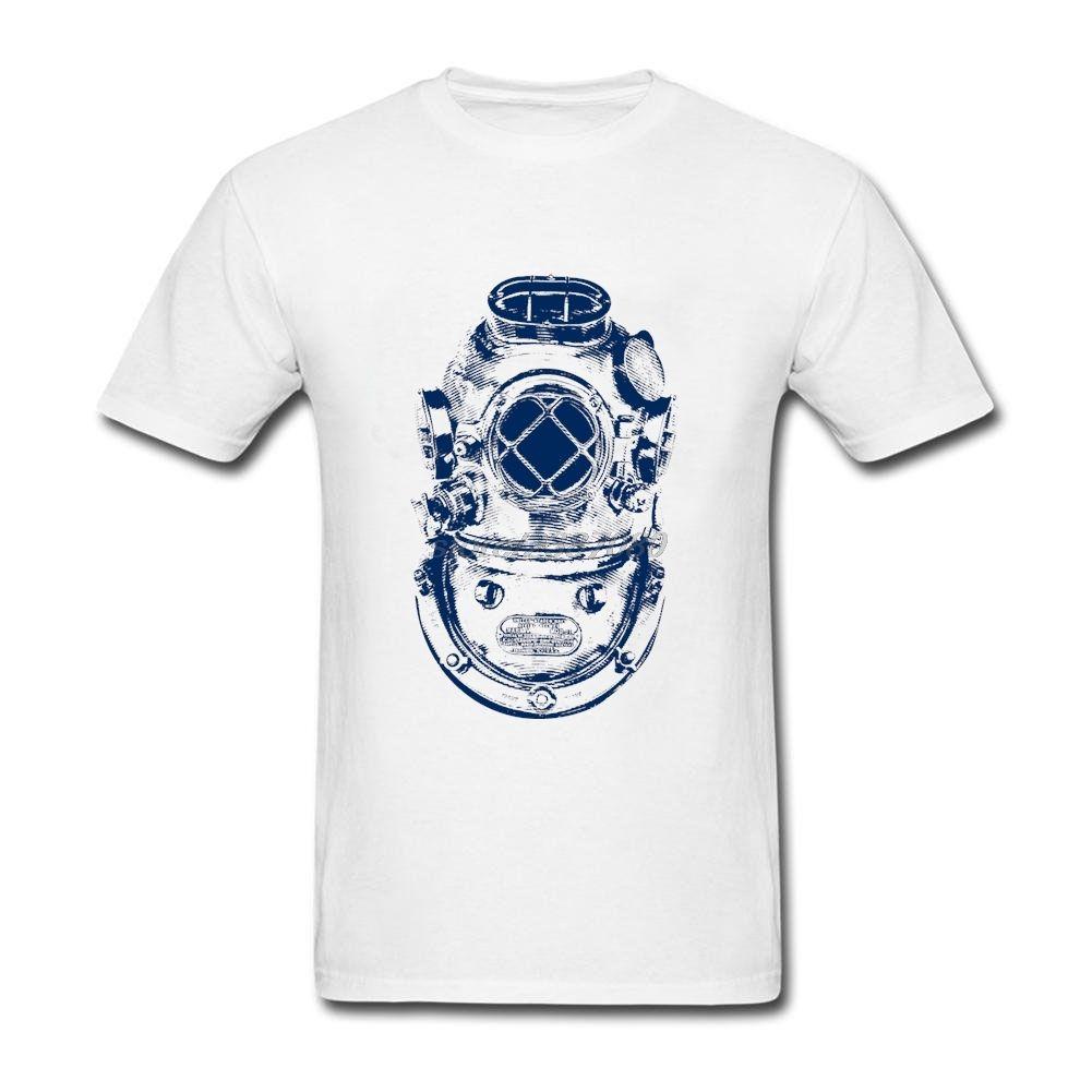 Comfort Diver Camisetas cortas Camisetas masculinas Camisetas de verano Orangic Cotton Deep Sea Diver Casco Camisetas vintage