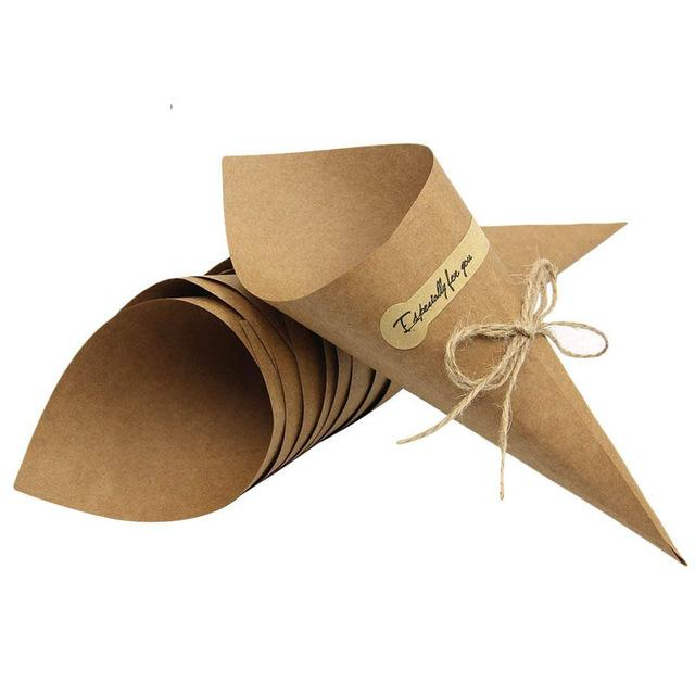 2019 50Pcs/Set Confetti Cone Bouquet With Hemp Ropes Wedding Diy Decoraion Retro Folding Kraft Paper Gifts Packing Party Supplies
