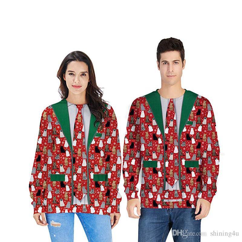 Femmes Sweats Noël Homme Ourdoor Hiver Père Noël Sweats à capuche 50% Costume Femme Imprimer unisexe Sport Vêtements de Noël Novelty Fitness Porter