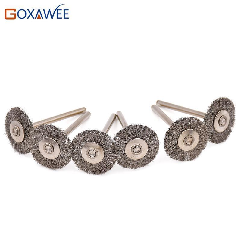 GOXAWEE 50pcs 22mm Stainless Steel Wire Wheel Brush Polishing Rotary Tool for Mini Drill Dremel Polishing Abrasive Tools