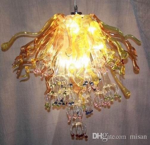 Lampade Home / Ciondoli decorativi per matrimoni Illuminazione a ciondoli colorati Luci a sospensione colorata Forma del fiore Lampadine Bulbs a mano Blown Murano Lampadari in vetro