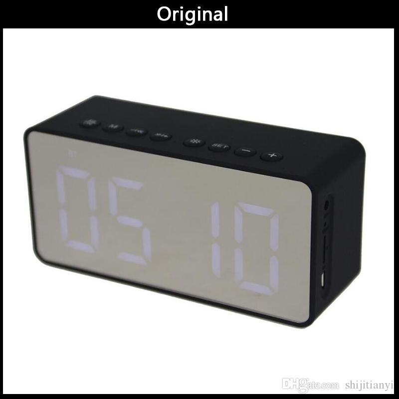 Wholesale 2019 BT506 Mini Portable Speaker LED Digital Alarm Clock Stereo Sound Bluetooth Speaker Support TF AUX with Micphone Mp3 Player