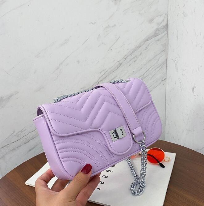 Donne Arcobaleno nuovo modo la catena di borsa borse a spalla più colore Plain Crossbody Bag Donna Borse
